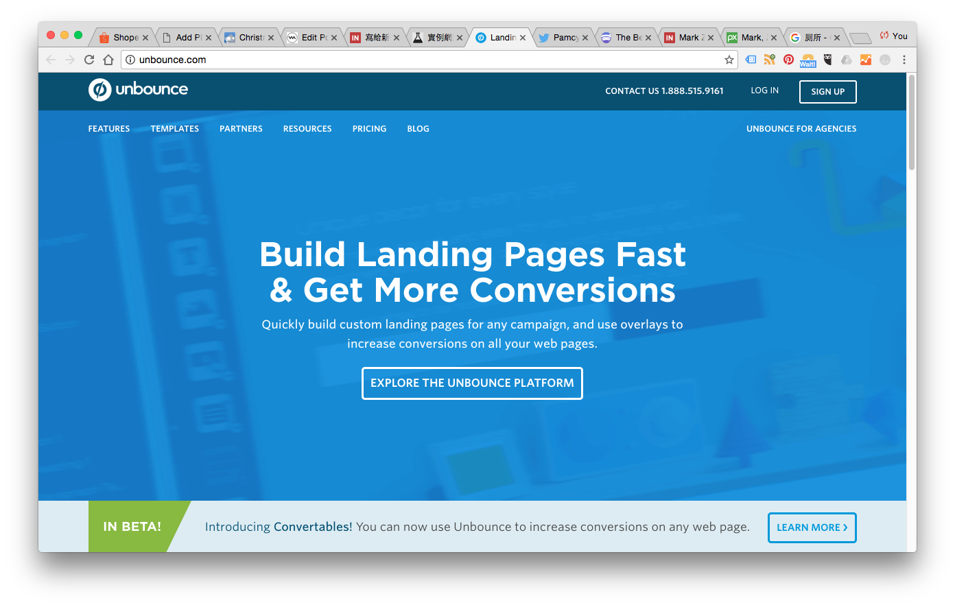 unbounce是业界知名制作Landing Page的网站