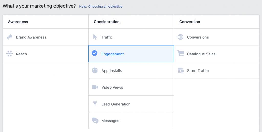 在 objective 里选择 Engagement