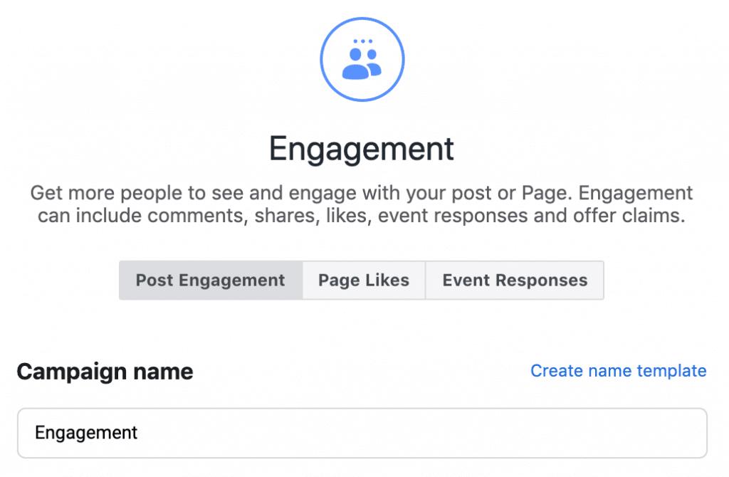 选择 Post Engagement 然后放入 Campaign 的名字按 Continue 去下一页